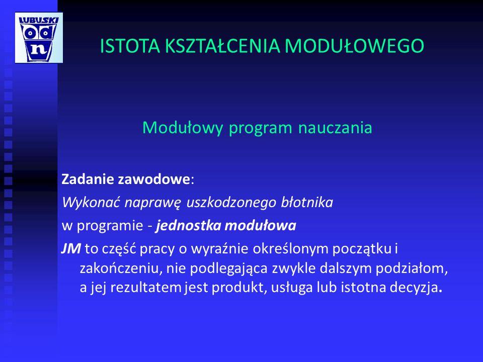 ISTOTA KSZTAŁCENIA MODUŁOWEGO Modułowy program nauczania Zadanie zawodowe: Wykonać naprawę uszkodzonego błotnika w programie - jednostka modułowa JM t