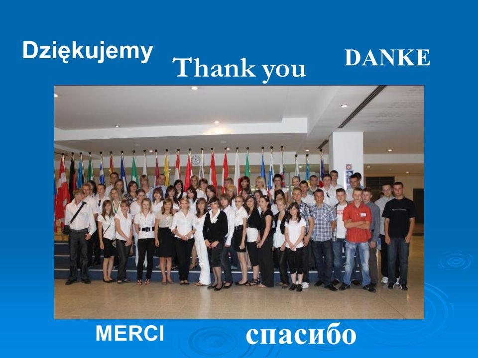 Dziękujemy Thank you MERCI спacибо DANKE