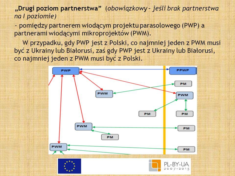 Drugi poziom partnerstwa (obowiązkowy – jeśli brak partnerstwa na I poziomie) - pomiędzy partnerem wiodącym projektu parasolowego (PWP) a partnerami w