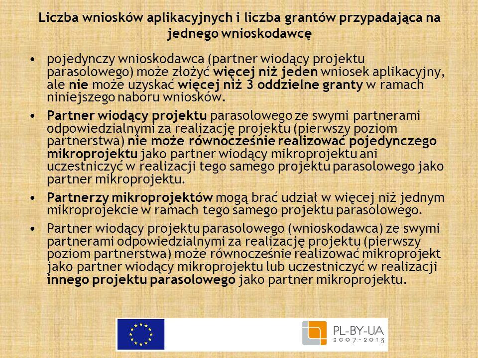 Liczba wniosków aplikacyjnych i liczba grantów przypadająca na jednego wnioskodawcę pojedynczy wnioskodawca (partner wiodący projektu parasolowego) mo