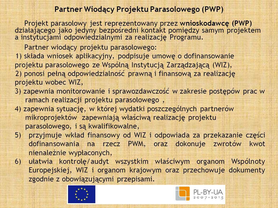 Partner Wiodący Projektu Parasolowego (PWP) Projekt parasolowy jest reprezentowany przez wnioskodawcę (PWP) działającego jako jedyny bezpośredni konta