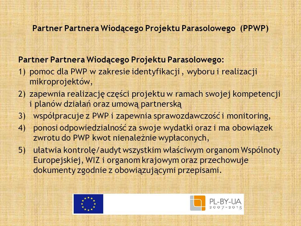 Partner Partnera Wiodącego Projektu Parasolowego (PPWP) Partner Partnera Wiodącego Projektu Parasolowego: 1)pomoc dla PWP w zakresie identyfikacji, wy