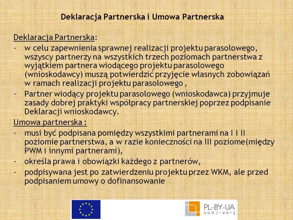 Deklaracja Partnerska i Umowa Partnerska Deklaracja Partnerska: -w celu zapewnienia sprawnej realizacji projektu parasolowego, wszyscy partnerzy na ws