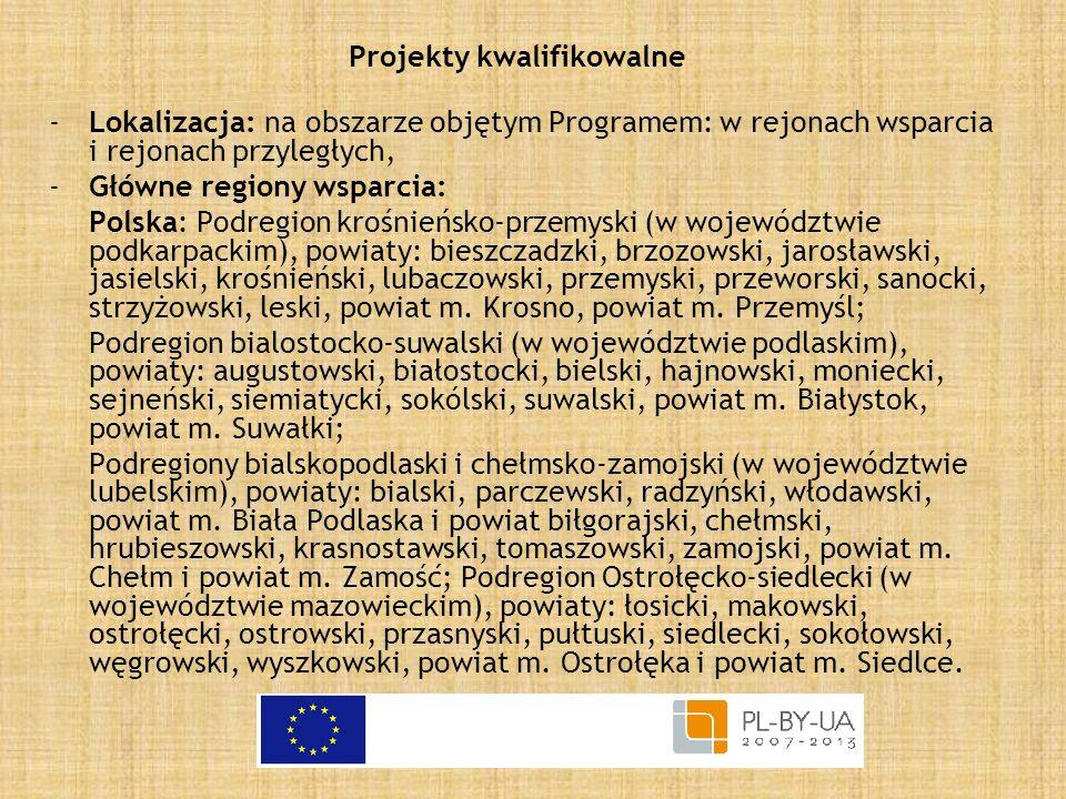 Projekty kwalifikowalne -Lokalizacja: na obszarze objętym Programem: w rejonach wsparcia i rejonach przyległych, -Główne regiony wsparcia: Polska: Pod