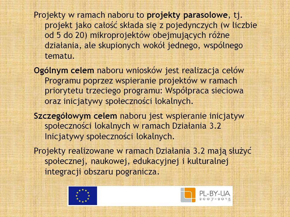 Projekty w ramach naboru to projekty parasolowe, tj. projekt jako całość składa się z pojedynczych (w liczbie od 5 do 20) mikroprojektów obejmujących