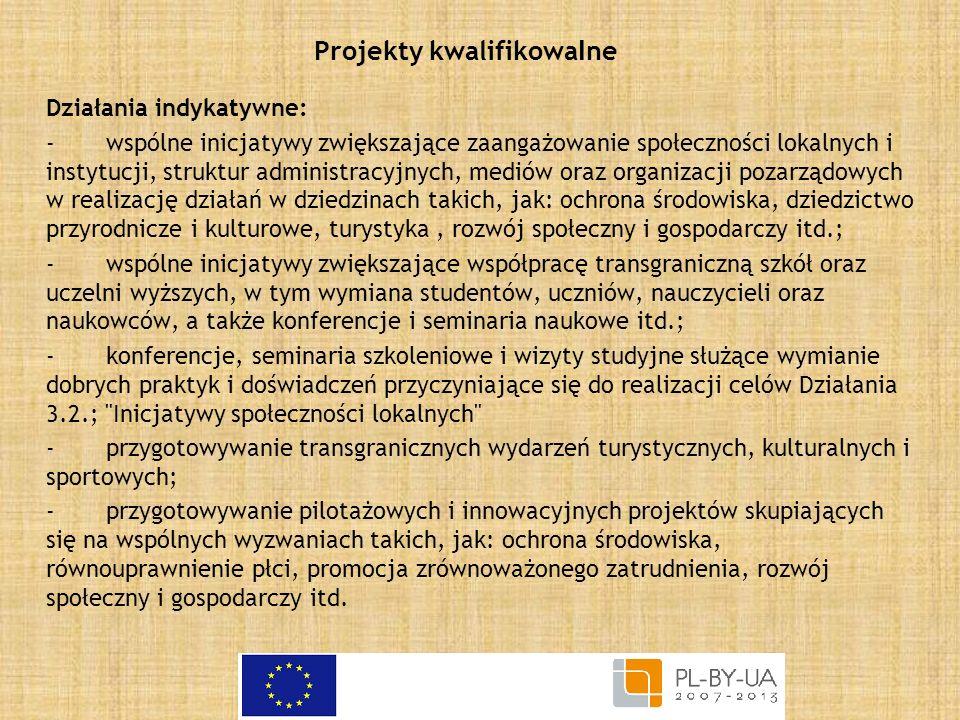 Projekty kwalifikowa l ne Działania indykatywne: -wspólne inicjatywy zwiększające zaangażowanie społeczności lokalnych i instytucji, struktur administ