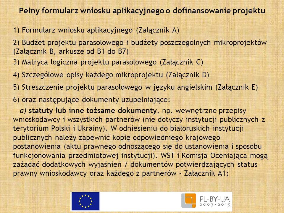 Pełny formularz wniosku aplikacyjnego o dofinansowanie projektu 1) Formularz wniosku aplikacyjnego (Załącznik A) 2) Budżet projektu parasolowego i bud