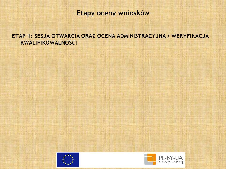 Etapy oceny wniosków ETAP 1: SESJA OTWARCIA ORAZ OCENA ADMINISTRACYJNA / WERYFIKACJA KWALIFIKOWALNOŚCI