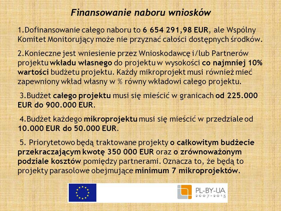 Finansowanie naboru wniosków 1.Dofinansowanie całego naboru to 6 654 291,98 EUR, ale Wspólny Komitet Monitorujący może nie przyznać całości dostępnych