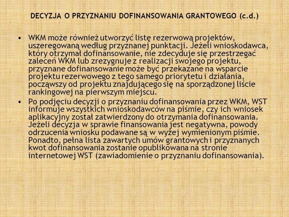 DECYZJA O PRZYZNANIU DOFINANSOWANIA GRANTOWEGO (c.d.) WKM może również utworzyć listę rezerwową projektów, uszeregowaną według przyznanej punktacji. J