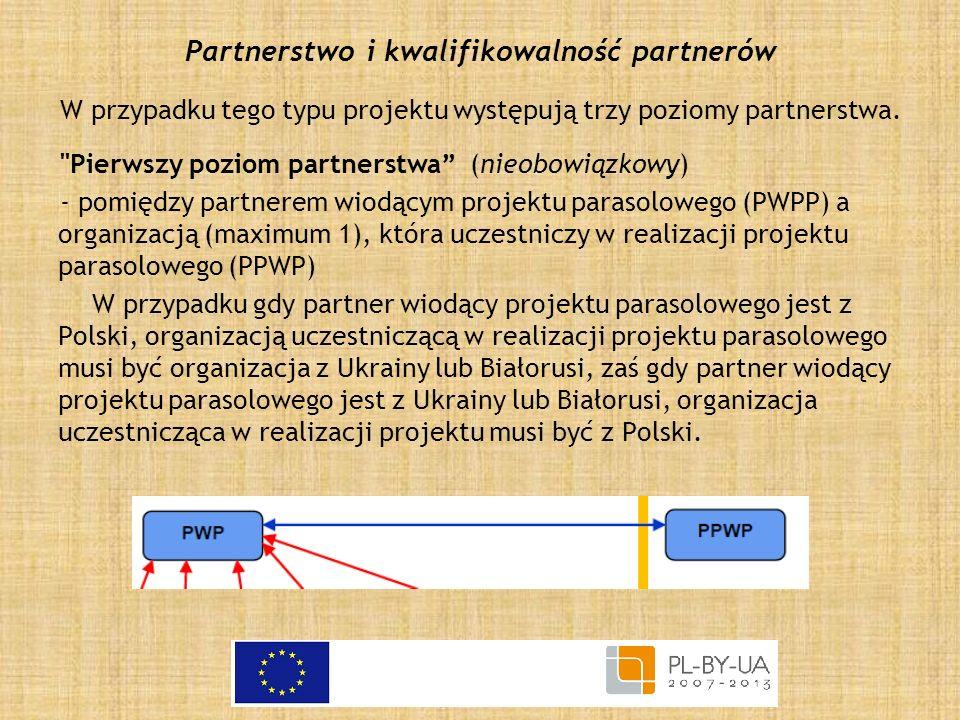Partnerstwo i kwalifikowalność partnerów W przypadku tego typu projektu występują trzy poziomy partnerstwa.