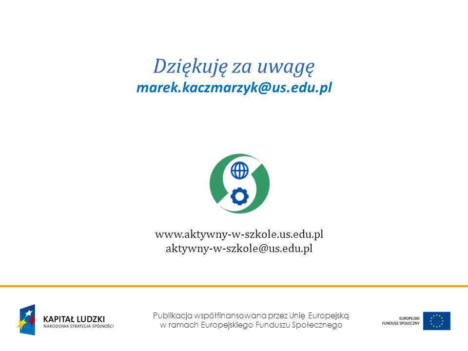 Publikacja współfinansowana przez Unię Europejską w ramach Europejskiego Funduszu Społecznego Dziękuję za uwagę marek.kaczmarzyk@us.edu.pl www.aktywny