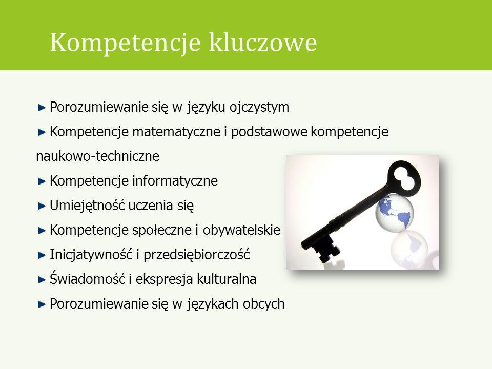 Kompetencje kluczowe Porozumiewanie się w języku ojczystym Kompetencje matematyczne i podstawowe kompetencje naukowo-techniczne Kompetencje informatyc