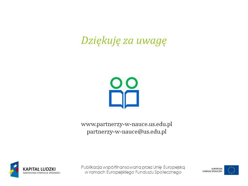 Publikacja współfinansowana przez Unię Europejską w ramach Europejskiego Funduszu Społecznego Dziękuję za uwagę www.partnerzy-w-nauce.us.edu.pl partne