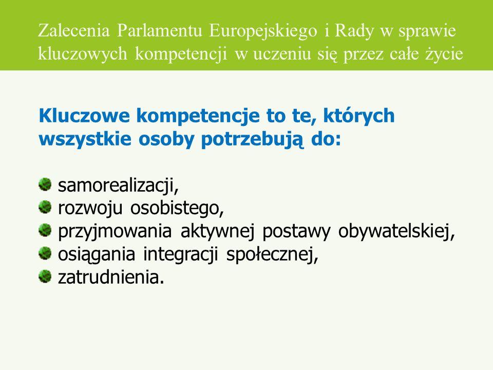 Zalecenia Parlamentu Europejskiego i Rady w sprawie kluczowych kompetencji w uczeniu się przez całe życie Kluczowe kompetencje to te, których wszystki