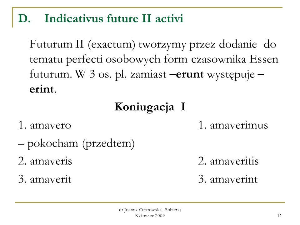 dr Joanna Ożarowska - Sobieraj Katowice 2009 11 D.Indicativus future II activi Futurum II (exactum) tworzymy przez dodanie do tematu perfecti osobowyc