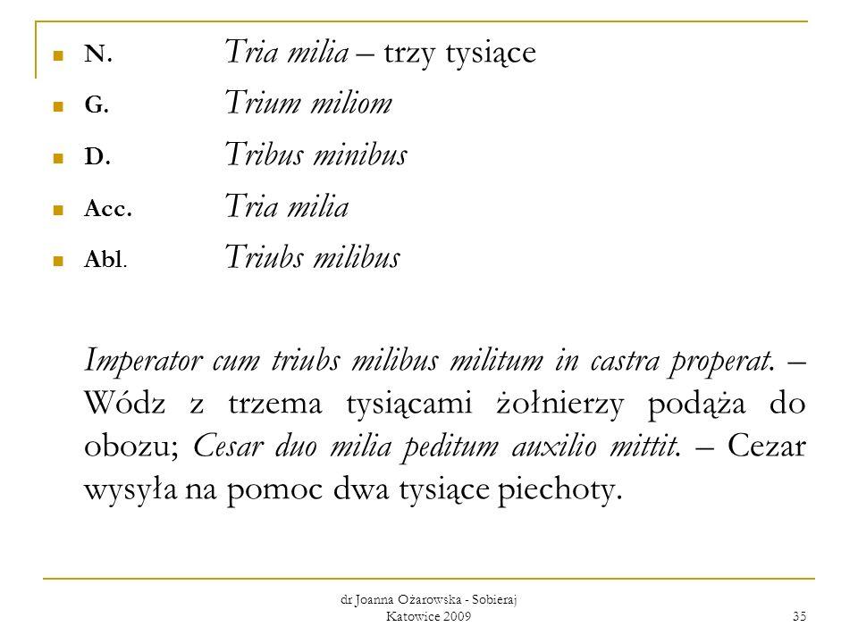 dr Joanna Ożarowska - Sobieraj Katowice 2009 35 N. Tria milia – trzy tysiące G. Trium miliom D. Tribus minibus Acc. Tria milia Abl. Triubs milibus Imp