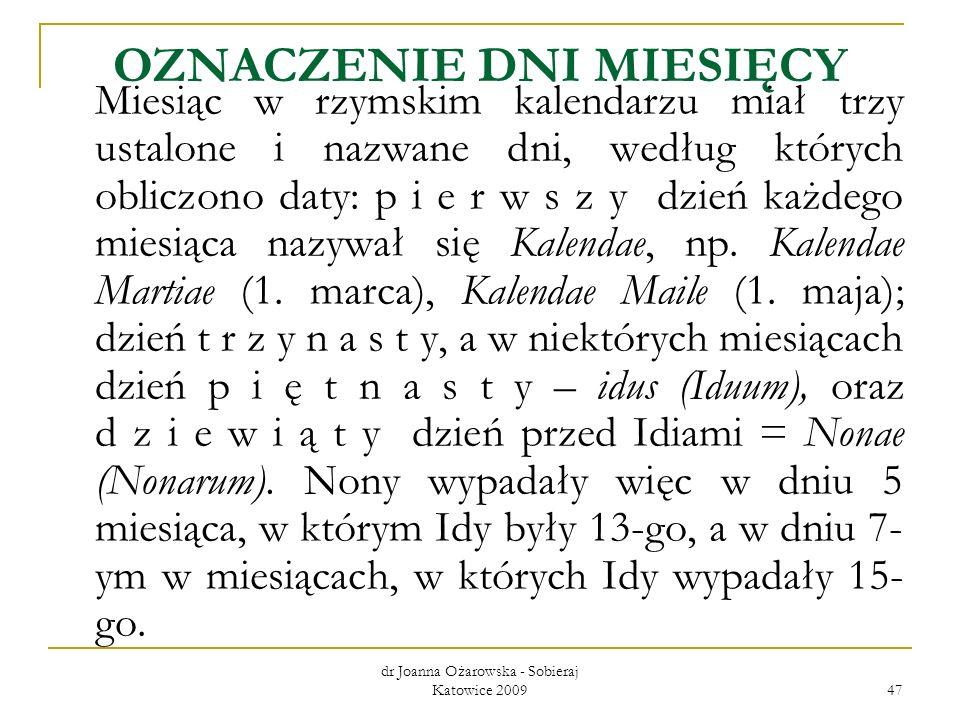 dr Joanna Ożarowska - Sobieraj Katowice 2009 47 OZNACZENIE DNI MIESIĘCY Miesiąc w rzymskim kalendarzu miał trzy ustalone i nazwane dni, według których