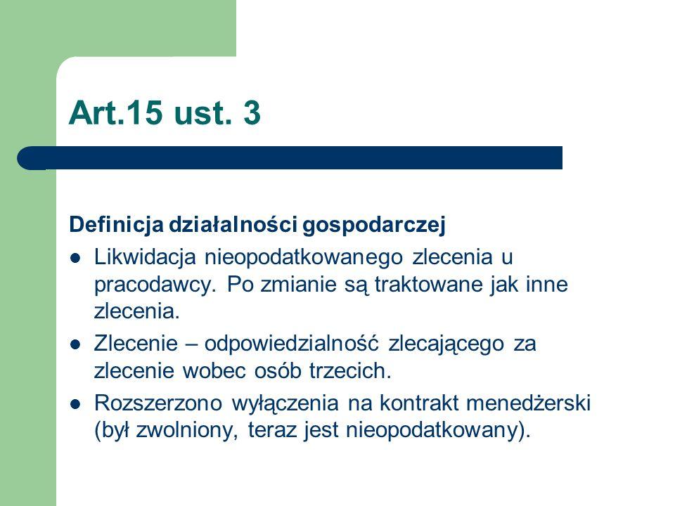 Art.15 ust. 3 Definicja działalności gospodarczej Likwidacja nieopodatkowanego zlecenia u pracodawcy. Po zmianie są traktowane jak inne zlecenia. Zlec