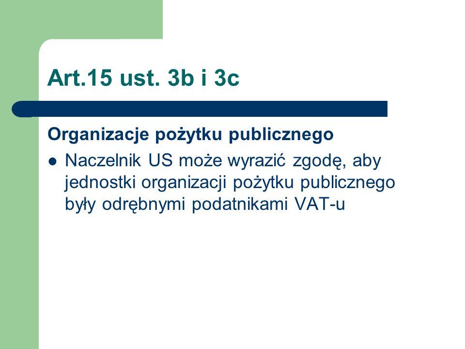 Art.15 ust. 3b i 3c Organizacje pożytku publicznego Naczelnik US może wyrazić zgodę, aby jednostki organizacji pożytku publicznego były odrębnymi poda