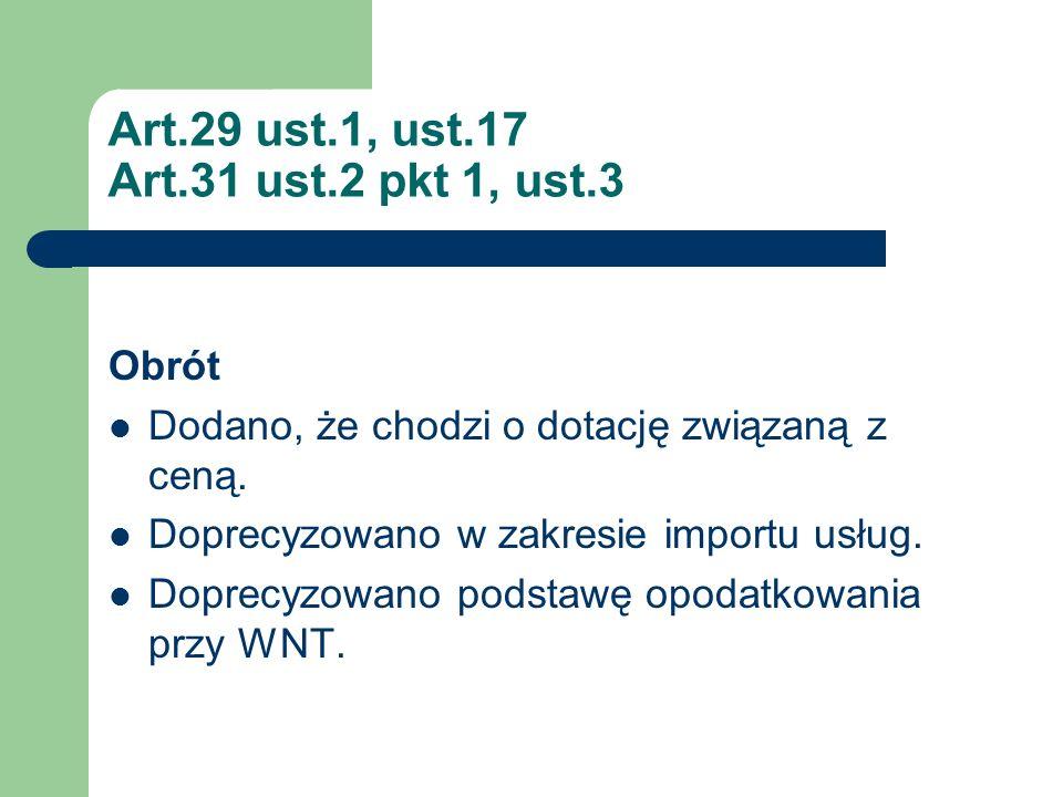 Art.29 ust.1, ust.17 Art.31 ust.2 pkt 1, ust.3 Obrót Dodano, że chodzi o dotację związaną z ceną. Doprecyzowano w zakresie importu usług. Doprecyzowan
