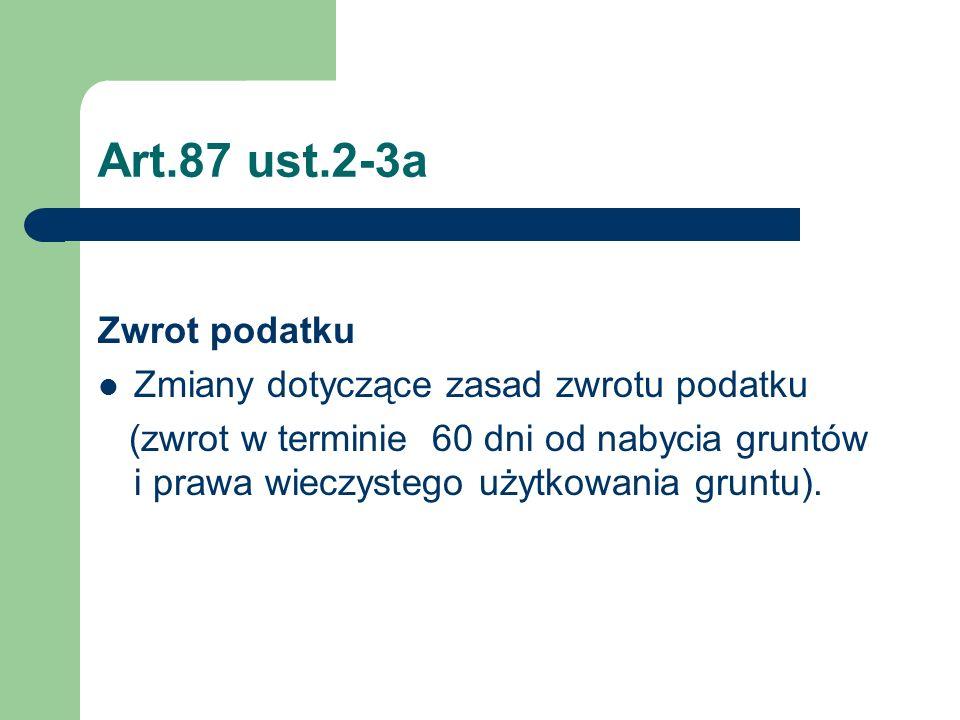 Art.87 ust.2-3a Zwrot podatku Zmiany dotyczące zasad zwrotu podatku (zwrot w terminie 60 dni od nabycia gruntów i prawa wieczystego użytkowania gruntu