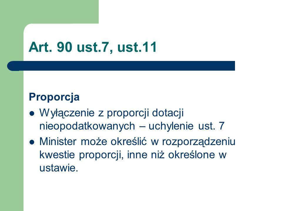 Art. 90 ust.7, ust.11 Proporcja Wyłączenie z proporcji dotacji nieopodatkowanych – uchylenie ust. 7 Minister może określić w rozporządzeniu kwestie pr