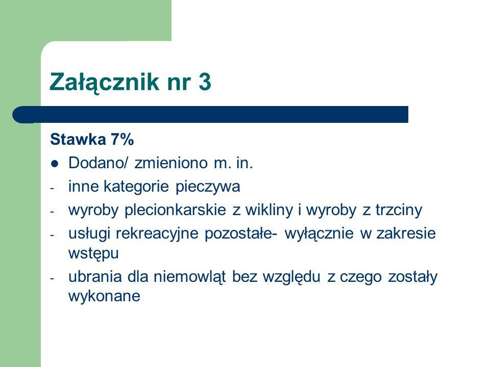 Załącznik nr 3 Stawka 7% Dodano/ zmieniono m. in. - inne kategorie pieczywa - wyroby plecionkarskie z wikliny i wyroby z trzciny - usługi rekreacyjne