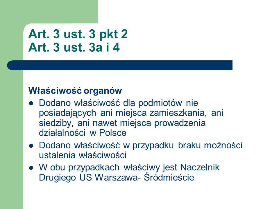 Art. 3 ust. 3 pkt 2 Art. 3 ust. 3a i 4 Właściwość organów Dodano właściwość dla podmiotów nie posiadających ani miejsca zamieszkania, ani siedziby, an