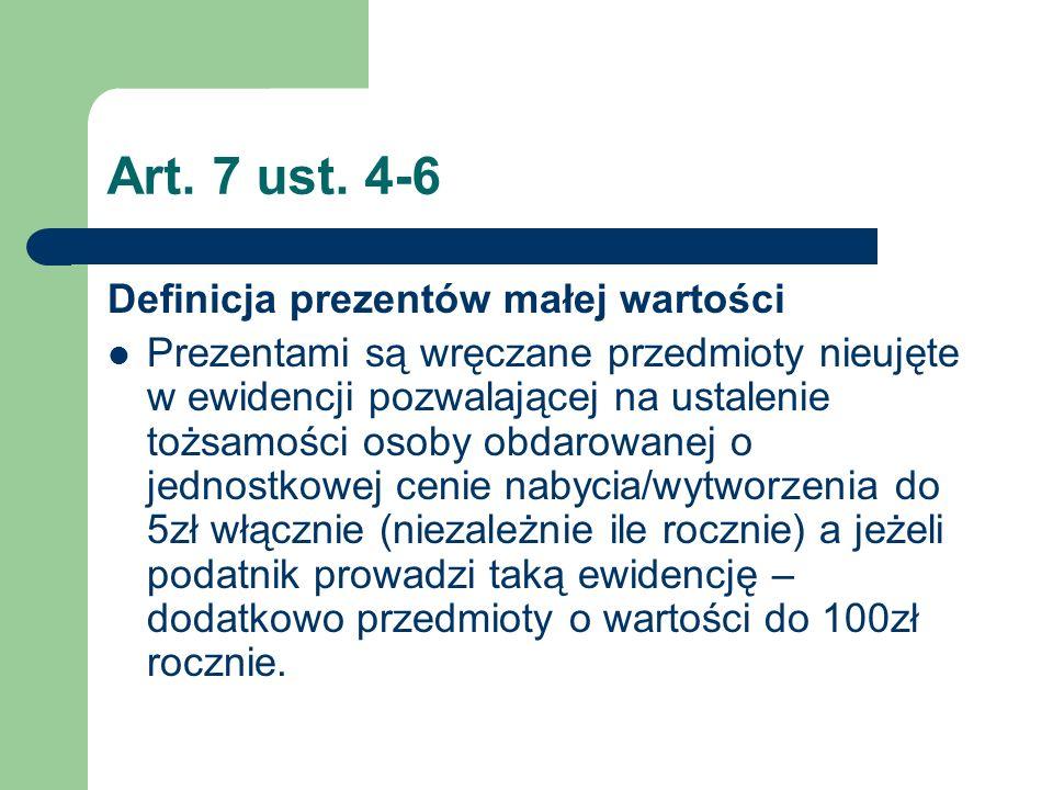 Art. 7 ust. 4-6 Definicja prezentów małej wartości Prezentami są wręczane przedmioty nieujęte w ewidencji pozwalającej na ustalenie tożsamości osoby o