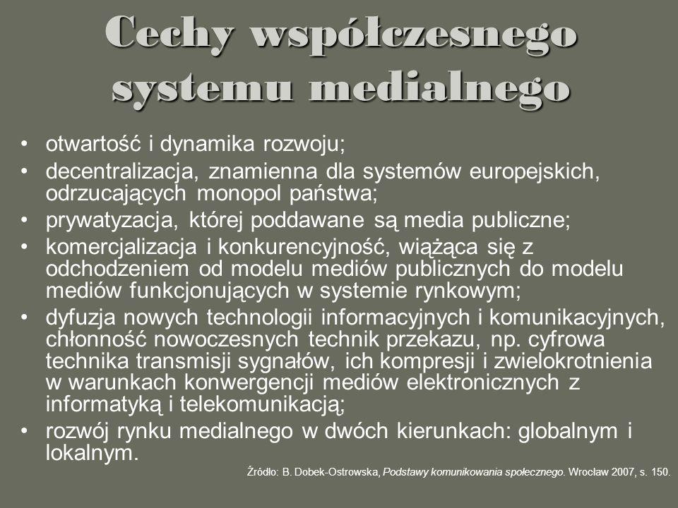 Cechy współczesnego systemu medialnego otwartość i dynamika rozwoju; decentralizacja, znamienna dla systemów europejskich, odrzucających monopol państ