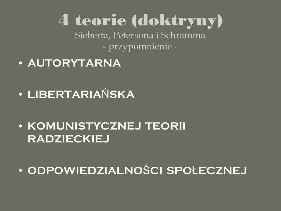 4 teorie (doktryny) Sieberta, Petersona i Schramma - przypomnienie - AUTORYTARNA LIBERTARIA Ń SKA KOMUNISTYCZNEJ TEORII RADZIECKIEJ ODPOWIEDZIALNO Ś C