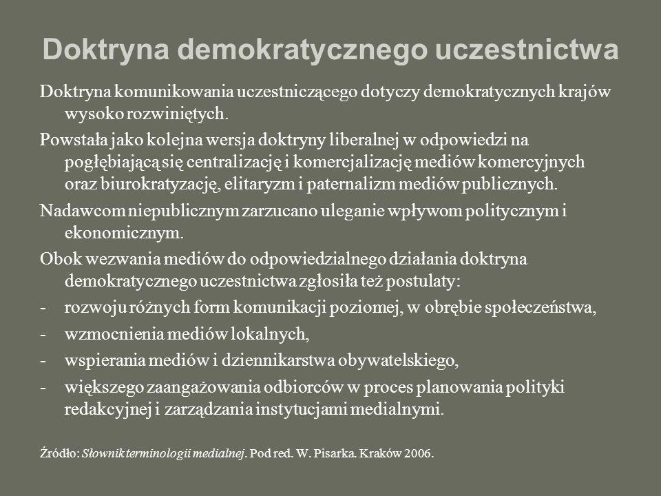 Doktryna demokratycznego uczestnictwa Doktryna komunikowania uczestniczącego dotyczy demokratycznych krajów wysoko rozwiniętych. Powstała jako kolejna