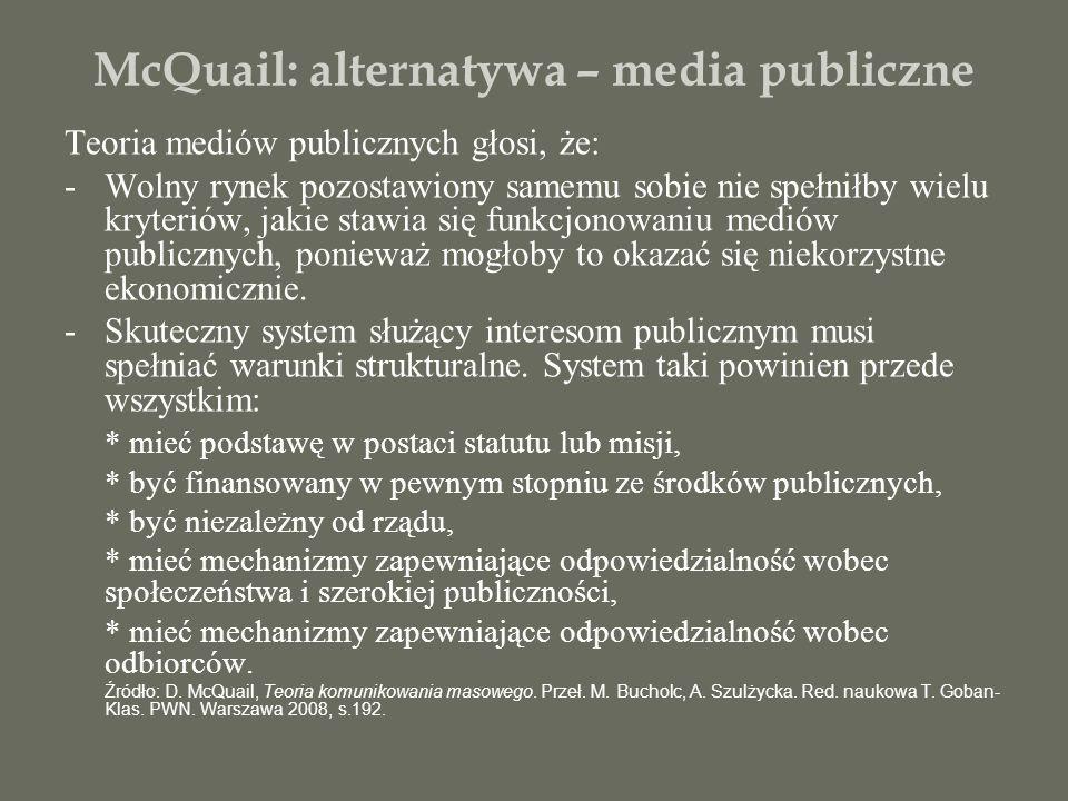McQuail: alternatywa – media publiczne Teoria mediów publicznych głosi, że: -Wolny rynek pozostawiony samemu sobie nie spełniłby wielu kryteriów, jaki