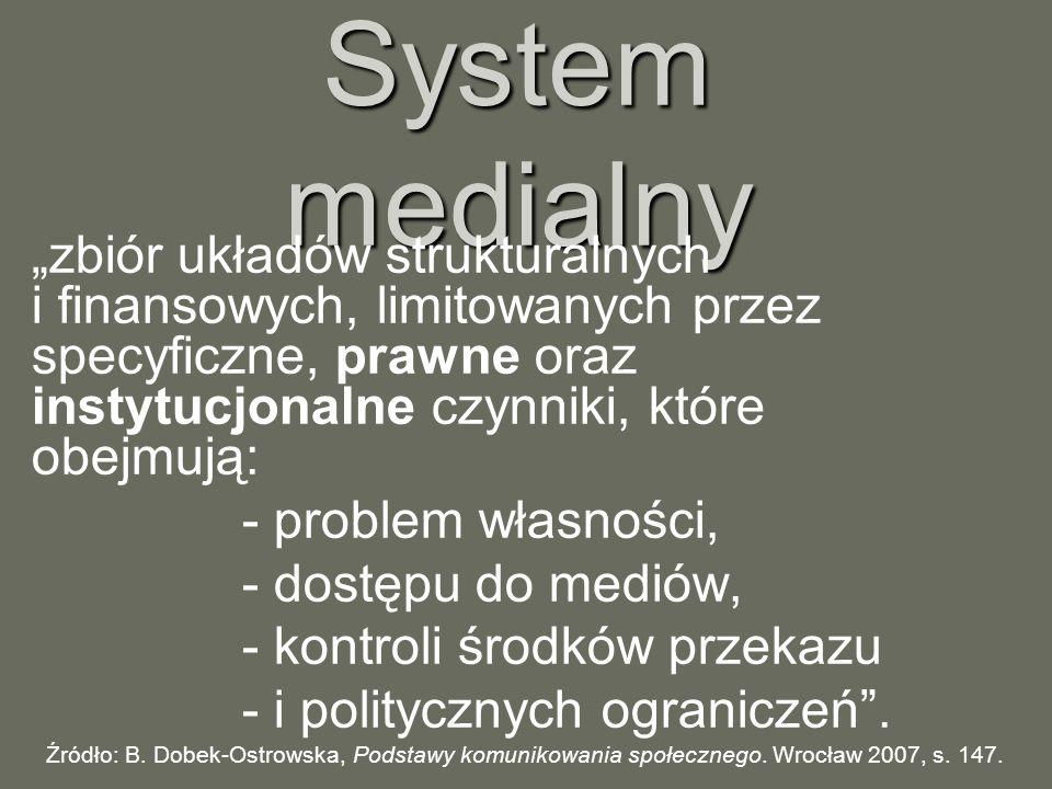 System medialny zbiór układów strukturalnych i finansowych, limitowanych przez specyficzne, prawne oraz instytucjonalne czynniki, które obejmują: - pr
