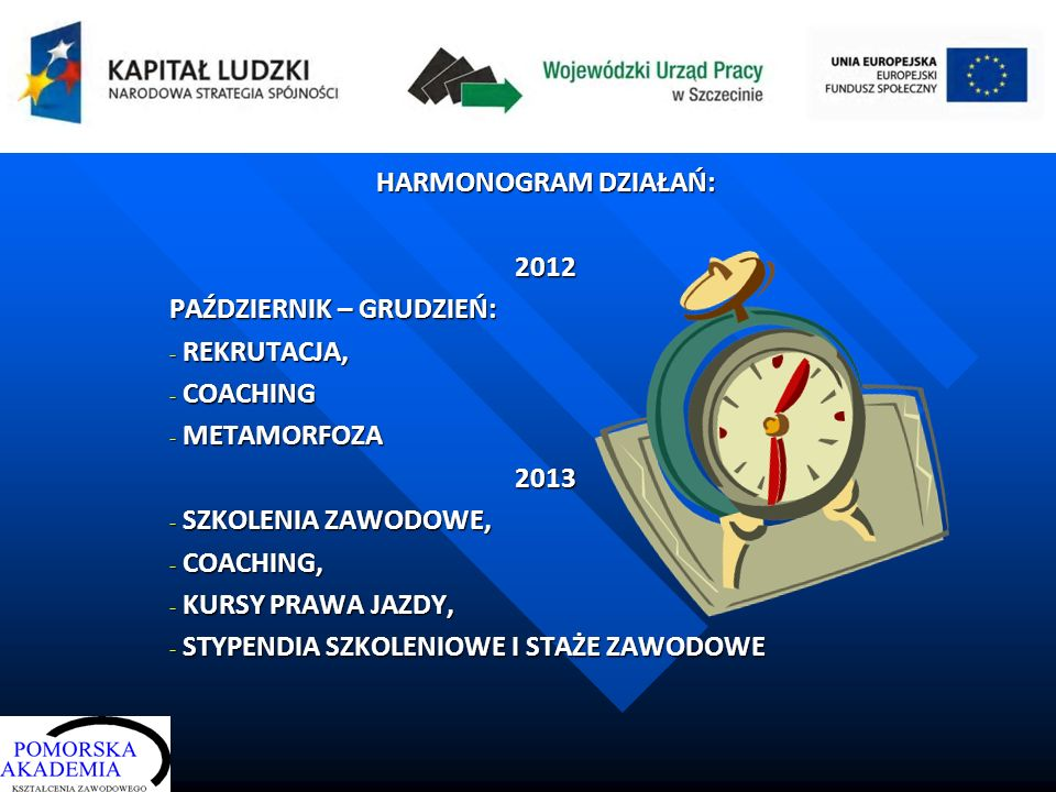 HARMONOGRAM DZIAŁAŃ: 2012 PAŹDZIERNIK – GRUDZIEŃ: - REKRUTACJA, - COACHING - METAMORFOZA 2013 - SZKOLENIA ZAWODOWE, - COACHING, - KURSY PRAWA JAZDY, -
