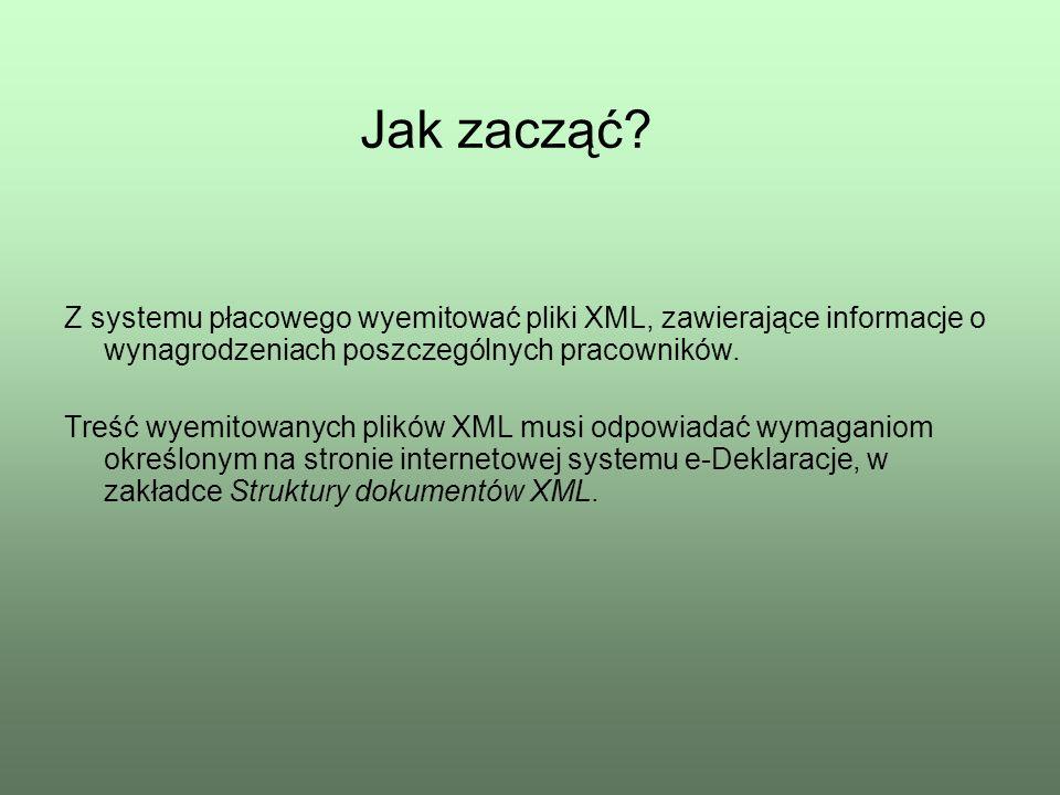 Z systemu płacowego wyemitować pliki XML, zawierające informacje o wynagrodzeniach poszczególnych pracowników. Treść wyemitowanych plików XML musi odp