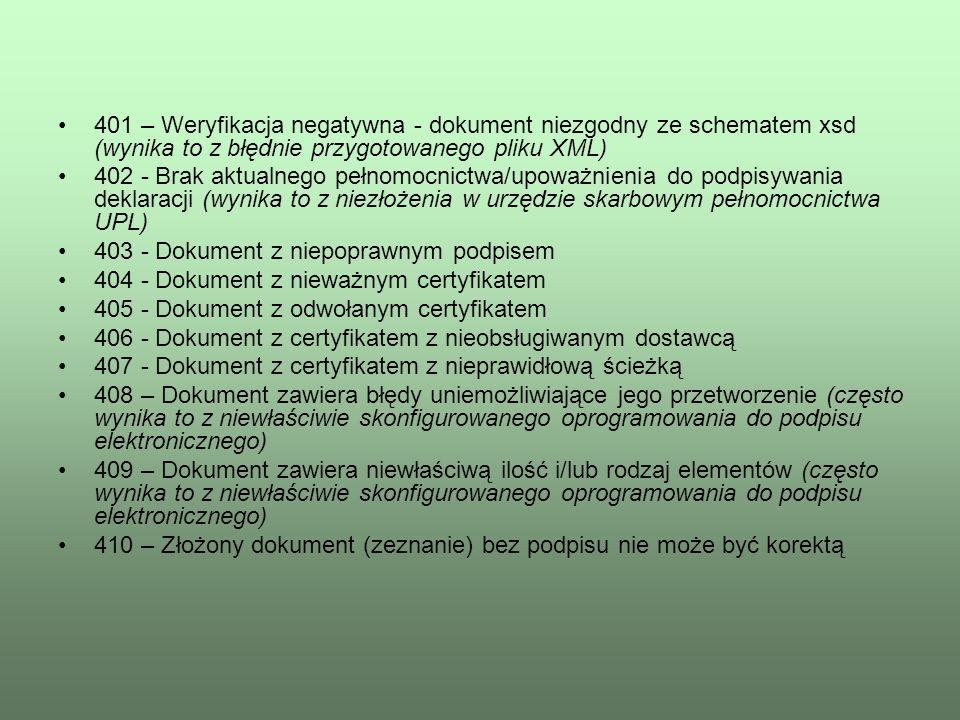 401 – Weryfikacja negatywna - dokument niezgodny ze schematem xsd (wynika to z błędnie przygotowanego pliku XML) 402 - Brak aktualnego pełnomocnictwa/