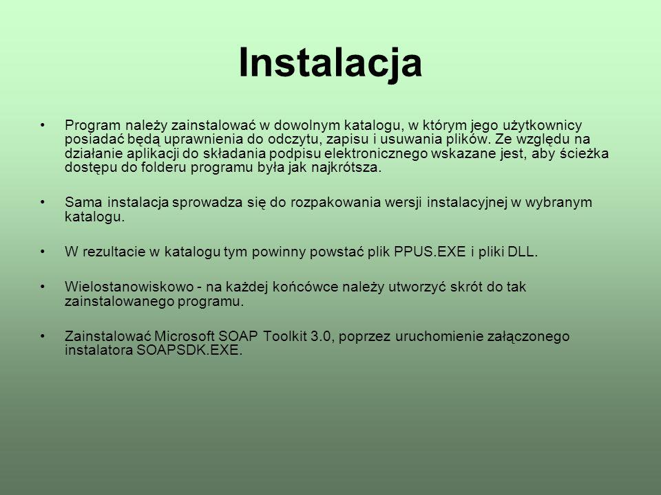 Instalacja Program należy zainstalować w dowolnym katalogu, w którym jego użytkownicy posiadać będą uprawnienia do odczytu, zapisu i usuwania plików.