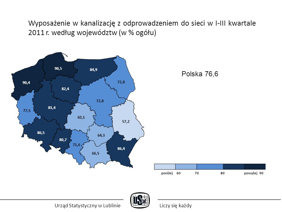 Urząd Statystyczny w LublinieLiczy się każdy Wyposażenie w kanalizację z odprowadzeniem do sieci w I-III kwartale 2011 r.