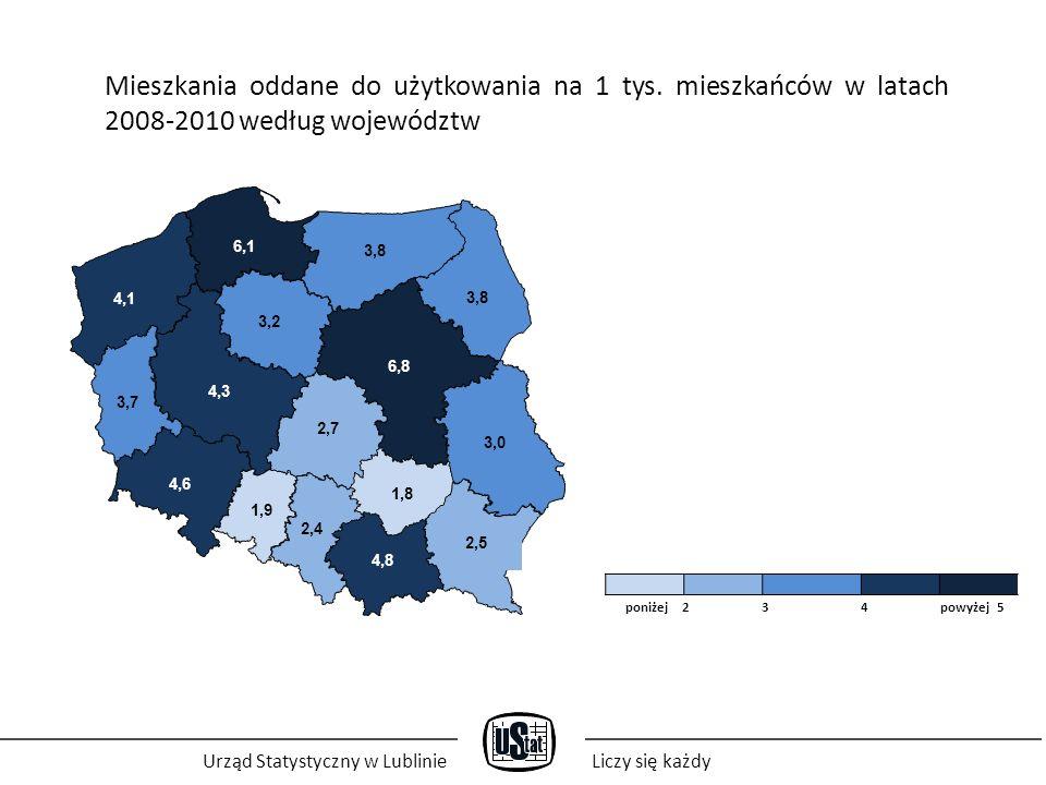 Urząd Statystyczny w LublinieLiczy się każdy Mieszkania oddane do użytkowania w 2011 roku według województw (w tys.) 5,9 3,2 12,0 4,6 13,8 6,4 25,5 4,5 6,4 10,5 1,7 6,0 3,0 9,5 12,8 5,7 poniżej 3 6 9 powyżej 12