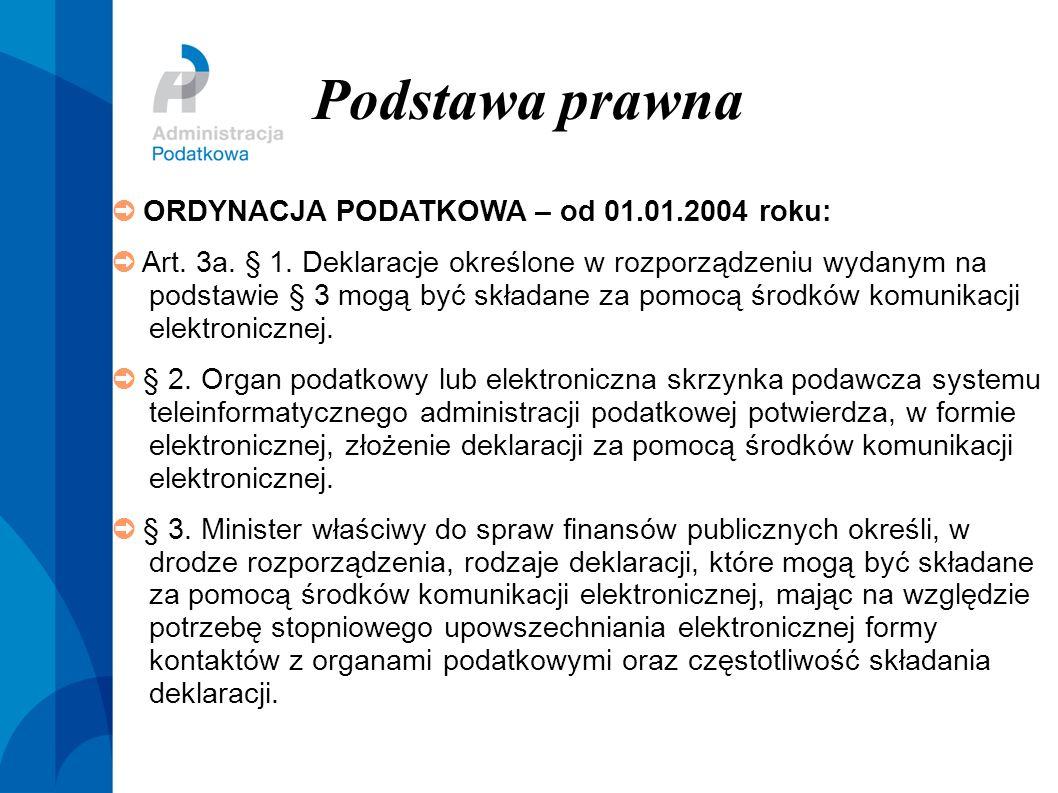 Podstawa prawna ORDYNACJA PODATKOWA – od 01.01.2004 roku: Art. 3a. § 1. Deklaracje określone w rozporządzeniu wydanym na podstawie § 3 mogą być składa