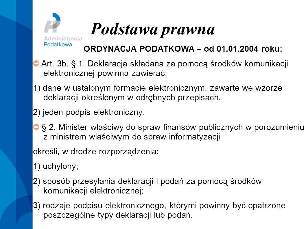 Podstawa prawna ORDYNACJA PODATKOWA – od 01.01.2004 roku: Art. 3b. § 1. Deklaracja składana za pomocą środków komunikacji elektronicznej powinna zawie