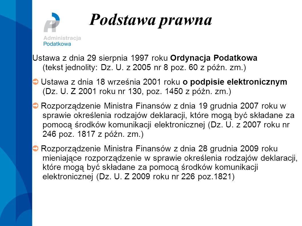 Podstawa prawna Ustawa z dnia 29 sierpnia 1997 roku Ordynacja Podatkowa (tekst jednolity: Dz. U. z 2005 nr 8 poz. 60 z późn. zm.) Ustawa z dnia 18 wrz