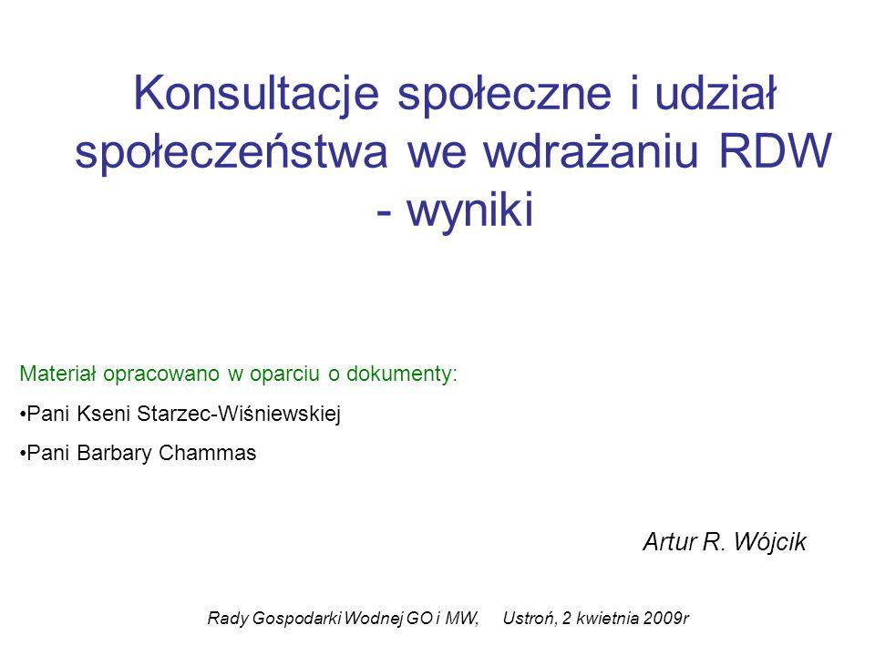 Konsultacje społeczne i udział społeczeństwa we wdrażaniu RDW - wyniki Artur R. Wójcik Rady Gospodarki Wodnej GO i MW, Ustroń, 2 kwietnia 2009r Materi
