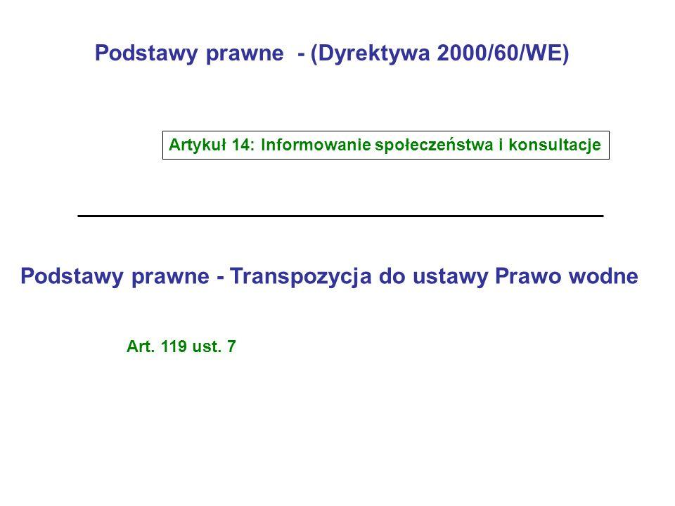 Podstawy prawne - (Dyrektywa 2000/60/WE) Artykuł 14: Informowanie społeczeństwa i konsultacje Podstawy prawne - Transpozycja do ustawy Prawo wodne Art