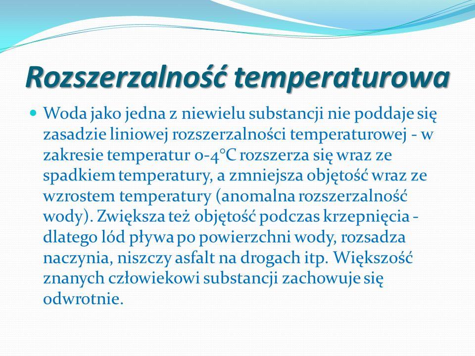 Rozszerzalność temperaturowa Woda jako jedna z niewielu substancji nie poddaje się zasadzie liniowej rozszerzalności temperaturowej - w zakresie tempe
