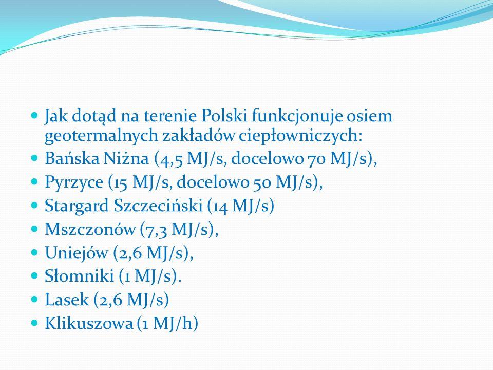 Jak dotąd na terenie Polski funkcjonuje osiem geotermalnych zakładów ciepłowniczych: Bańska Niżna (4,5 MJ/s, docelowo 70 MJ/s), Pyrzyce (15 MJ/s, doce