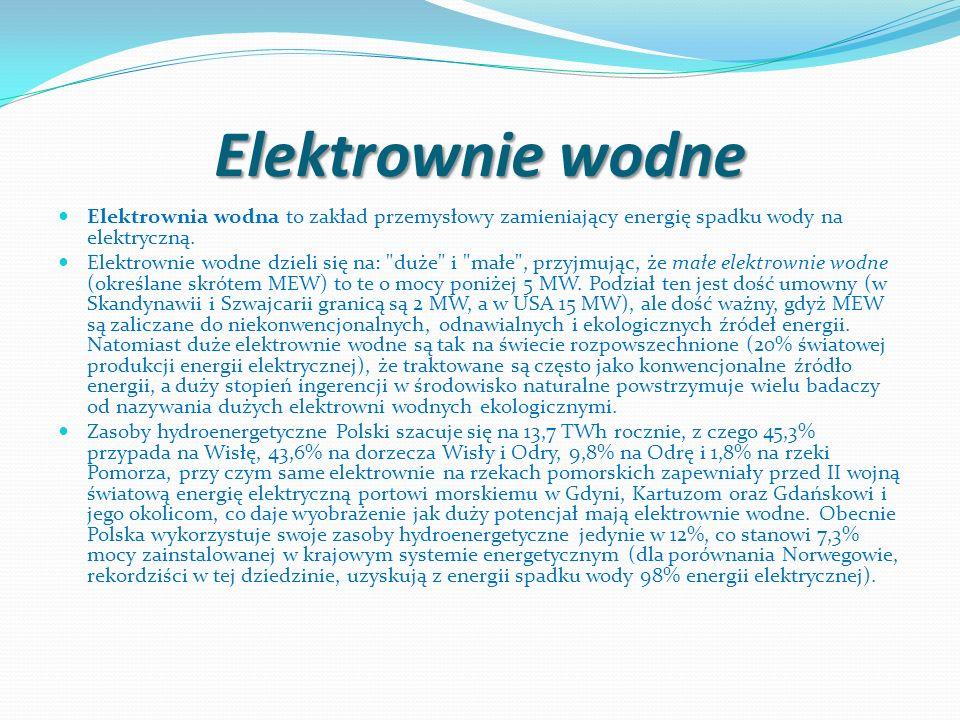 Elektrownie wodne Elektrownia wodna to zakład przemysłowy zamieniający energię spadku wody na elektryczną. Elektrownie wodne dzieli się na: