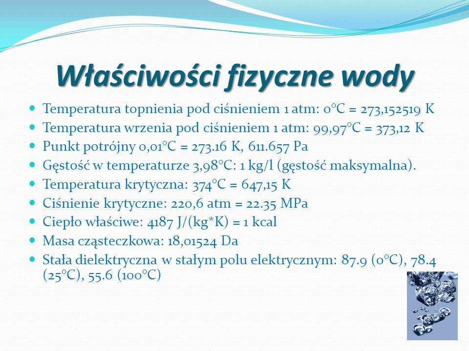 Rozszerzalność temperaturowa Woda jako jedna z niewielu substancji nie poddaje się zasadzie liniowej rozszerzalności temperaturowej - w zakresie temperatur 0-4°C rozszerza się wraz ze spadkiem temperatury, a zmniejsza objętość wraz ze wzrostem temperatury (anomalna rozszerzalność wody).
